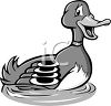 Black and White Cartoon of a Male Duck or Mallard clipart