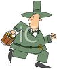 Cartoon of a Chubby Leprechaun Making Off with the Gold clipart