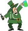 Drunk Leprechaun Holding Up His Mug of Beer clipart