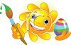 Smiling Sun Painting an Easter Egg clipart