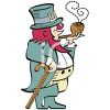 Vintage Leprechaun Smoking a Pipe clipart