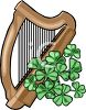 Shamrocks Decorating a Harp clipart