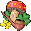 Magic Mushroom with a Pipe and Gold Coins clipart