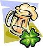 Foamy Mug of Beer with a Four-Leaf-Clover clipart