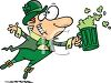 Cartoon Leprechaun Dancing with a Mug of Green Beer clipart