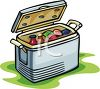 Insulated Cooler Filled with Picnic Food clipart