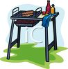 Hot Dog Cooking on a Grill clipart