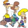 Cartoon of a Family Going on a Picnic clipart