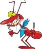 Cartoon of a Red Ant with a Fork and Knife Preparing for a Picnic clipart