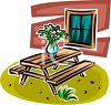 Wooden Picnic Table in a Yard clipart