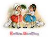 Vintage Easter Greeting with Two Little Girls and Bunnies clipart