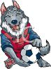 Husky Dog Playing Soccer clipart