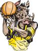 Boar Playing Basketball clipart