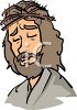 Cartoon of Jesus with the Crown of Thorns on His Head clipart