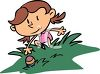 Girl Reaching for an Easter Egg During a Hunt clipart