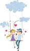 Teens Sitting on a Swing Together clipart