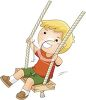 Happy Little Boy Swinging clipart