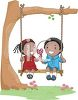 African American Kids Sharing a Swing and a Lollipop clipart