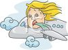 Woman in an Airplane with Motion Sickness clipart
