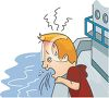 Man with Motion Sickness Puking Off the Side of a Boat clipart