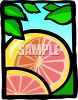 Cartoon Grapefruit with Leaves clipart