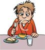 Sad Man Eating Grapefruit and Toast for Breakfast clipart