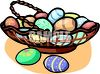 Basket of Decorated Easter Eggs clipart