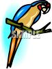 Cartoon of a Pet Bird on a Perch clipart