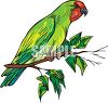 Realistic Parakeet on a Branch clipart