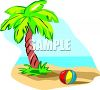 Cartoon of a Palm Tree and a Ball on a Tropical Beach clipart