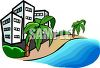 Hotels on a Hawaiian Beach clipart