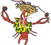 Cartoon of a Dancing Lobster Wearing a Straw Hat clipart