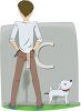 Man and His Dog Peeing in the Park clipart