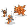 Orange Man Character Mascots Fighting a Monster clipart