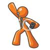 Orange Man Character Mascot Retro Dancer clipart