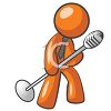 Orange Man Character Mascot Crooning Into an Old Fashioned Mic clipart