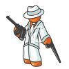Orange Man Character Mascot Gangster Holding a Machine Gun clipart