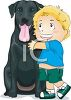 Happy Little Boy Hugging His Dog clipart