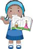 Little African American Girl Reading a Storybook Out Loud clipart