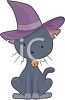 Black Cat Wearing a Pointed Hat clipart