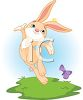 Happy Bunny Dancing with a Butterfly clipart