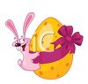 Crazy Buck Toothed Bunny Hugging an Easter Egg clipart