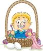 Cute Toddler Sitting in an Easter Basket Coloring Eggs clipart
