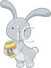 Little Rabbit Holding an Easter Egg clipart