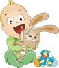 Baby Holding an Easter Bunny Doll clipart