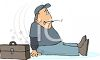 Cartoon of a Handyman Who Slipped and Fell clipart
