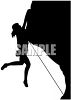 Silhouette of a Climber Falling Off a Cliff Edge clipart