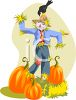 Cute Scarecrow in a Pumpkin Patch clipart