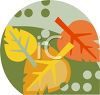 Fall Icon with Golden Leaves clipart