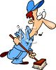 Cartoon Showing a Janitor Sweeping Up Whistling clipart